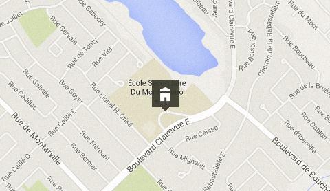 Situation géographique de l'école secondaire du Mont-Bruno
