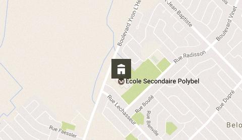 Situation géographique de l'école secondaire Polybel