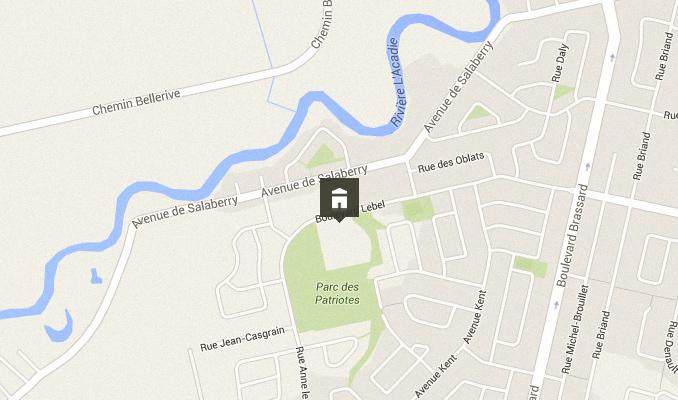 Carte - Situation géographique de la nouvelle école à Chambly