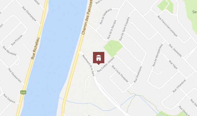 Carte - Situation géographique de la nouvelle école à Mont-Saint-Hilaire