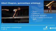 Albert Chagnon, gymnaste de l'école De Mortagne, récipiendaire d'une bourse d'excellence académique